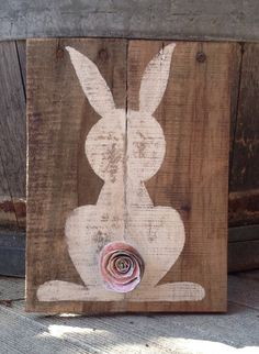 Bunny Butt Sign Easter Bunny Easter Sign by TheShabbyScrapper