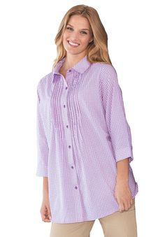 Gingham tunic-length bigshirt with pintucks and embroidery | Plus Size Shirts & Blouses | Woman Within