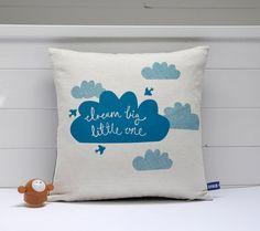Hand Screen Printed Dream Big Little One Cushion Cover in Teal