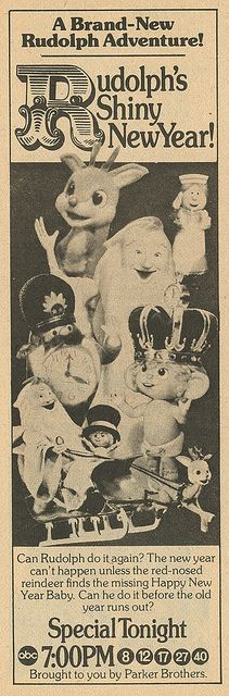 """""""Rudolph's Shiny New Year"""" television special ad from TV Guide, 1975."""