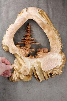 Bear art tree wood carving log cabin decor Valentines by treewiz, $300.00