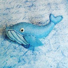 brooch blue whale Felt Brooch animal Original by happygiftsUA