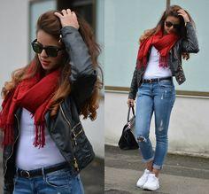Zebra Leather Jacket, Nike White/Neon Airmax, Scarf