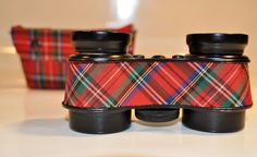 Antique AirGuide brand Opera Glasses in Red Plaid with a Matching Case 1950s by decor4home2 on Etsy