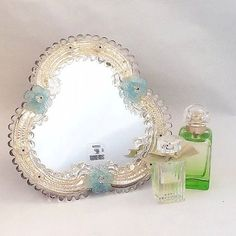 Vintage Venetian Murano mirror, Italian dressing table mirror, Ornate Glass…