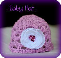 Fialová + bílá kytka s perličkami Camilla, Baby Hats, Crochet Hats, Beanie, Fashion, Knitting Hats, Moda, Fashion Styles, Beanies