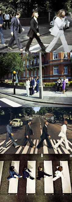 The Beatles crossing Abbey Road in various poses, 1969