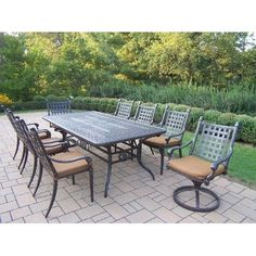 Belmont Rectangular Extendable 9 Piece Dining Set with Sunbrella Cushion by Oakland Living. $5372.84. Galvanized Assembly Hardware. Easy to Follow Assembly Instructions and Product Care Information. Fade, Chip and Crack Resistant. Rust Free Aluminum Construction. Hardened Powder Coat Finish in Multi Color for Years of Beauty. 7809-7800-7801-17-D54-MC Features: -Fade, chip and crack resistant. Includes: -Set includes 1 dining table, 6 fully welded dining chairs with sunbrella...