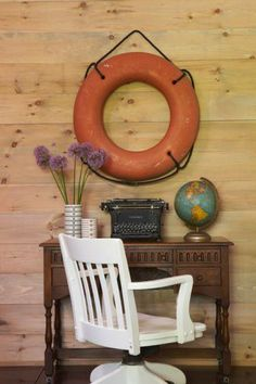 There is much beauty in nautical life preserver rings. Here's how you can use them a wall decor. Framed life preserver rings as wall decor. Coastal Style, Coastal Decor, Life Preserver Ring, Florida Design, Nautical Theme, Nautical Office, Beach Office, Vintage Nautical, Nautical Style