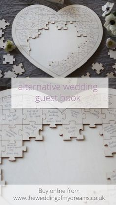 Wooden heart jigsaw puzzle - wedding guest book