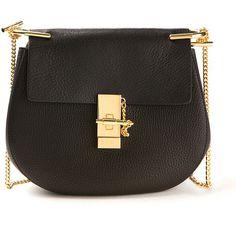 Chloé Drew Small Black Textured Leather Bag ($1,425) ❤ liked on Polyvore featuring bags, handbags, chloé, chain strap purse, chain handle handbags, chloe handbags, chain strap handbag and pin bag
