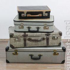 4er Koffer Set shabby chic top deko Schaufenster Reisebüro Vulkanfiber vintage in Business & Industrie, Ladenausstattung & -werbung, Ladenmobiliar & Deko | eBay
