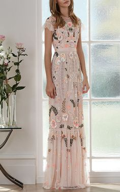 Pink Floral Embroidered Tiered Maxi Dress