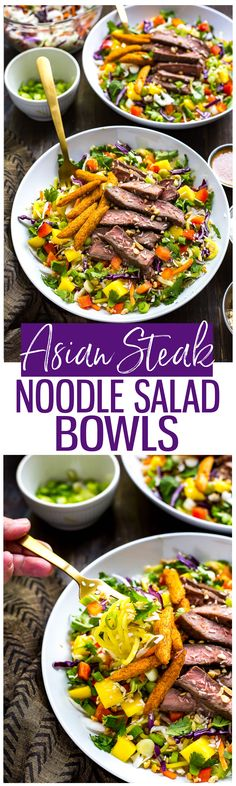 Asian-Inspired Steak Noodle Salad Bowls are a delicious, filling lunch or dinner idea filled with fresh herbs, mango and a garlic-paprika vinaigrette overtop of sesame marinated steak!