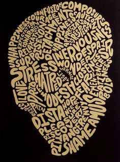"""""""Inner Workings of the Mind"""", Peteski Using text in a creative way."""