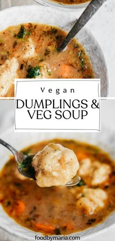 Nothing says comfort food more than a big bowl of vegetable soup with vegan dumplings. Its healthy its warming its easy (yes dumplings can be easy) and itll become one of your winter go-to recipes. Vegan Dinner Recipes, Veggie Recipes, Cooking Recipes, Healthy Recipes, Yummy Vegan Recipes, Best Vegetarian Recipes, Vegan Meals, Kitchen Recipes, Healthy Meals