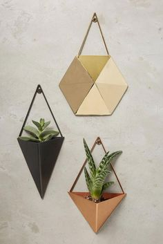 Gem Facets Planter / anthropologie home decore Diy Hanging Planter, Indoor Planters, Wall Planters, Indoor Herbs, Hanging Basket, Decoration Plante, Anthropologie Home, Boho Bedding, Summer Gifts