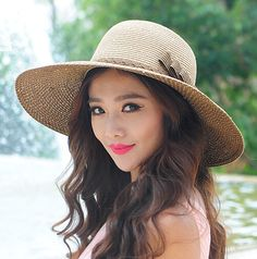 Coffee straw hat for women with bow UV protection   Buy cool cap,fashion hats on buyhathats.com