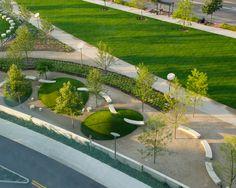 Outdoor park, Nationwide Children's Hospital, Columbus, OH. Landscape Plane, Landscape And Urbanism, Landscape Architecture Design, Urban Landscape, Landscape Art, Landscaping With Rocks, Modern Landscaping, Landscaping Plants, Urban Park