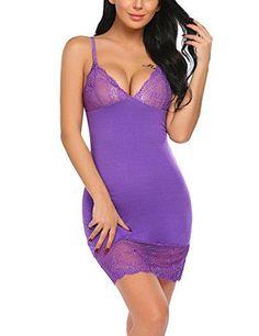 Sleepwear Women V Neck Chemise Lace Lingerie Full Slip Babydoll Dress