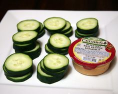 150 CALORIE SNACK - 2 tablespoons of roasted red pepper hummus (50 calories), Cut up one medium cucumber (45 calories) Total calories: 95