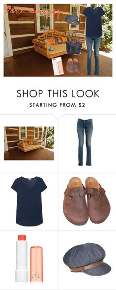 """""""Porch Swinging"""" by bree23 ❤ liked on Polyvore featuring Mother, Splendid, Birkenstock and Nine West"""