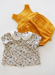 Handmade Linen Baby Romper & Floral Blouse | TsiomikKids on Etsy