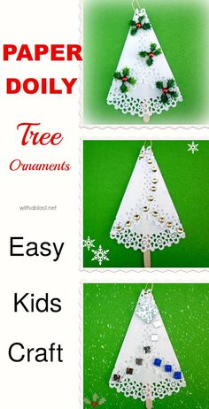 Easy fun kids craft for christmas tree ornaments made of paper doilies christmas ornaments papercraft kidscraft Christmas Craft Fair, Christmas Arts And Crafts, Homemade Christmas Cards, Christmas Cards To Make, Kids Christmas, Handmade Christmas, Holiday Crafts, Christmas Ornaments, Paper Doily Crafts