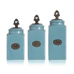 American Atelier Lina 3 Piece Canister Set Blue * This is an Amazon Affiliate link. Read more reviews of the product by visiting the link on the image.