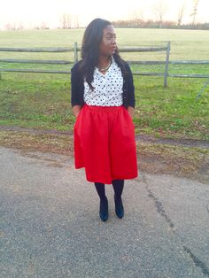 Red high waisted full midi skirt & polka dot shirt from Express paired with black tight & black pumps from BCBG