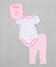 Look at this #zulilyfind! Pink Floral Heart Bodysuit Set #zulilyfinds