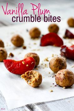 A one bite wonder! These gluten free no bake Vanilla Plum Crumble Bites from @LCCotter wrap up all the flavors of that stone fruit summer dessert  into one delicious, healthy, gluten free protein bite. Get the recipe at cottercrunch.com. #glutenfree #nobake #protein #snack