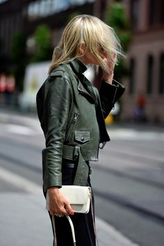 Green moto jacket. | @The GOCO Collective | Minimal Wardrobe + Cruelty-Free Beauty