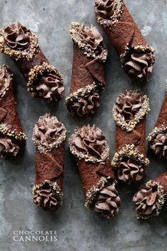 Chocolate Cannolis w/ pistachios!! Yummmm! These look so good.