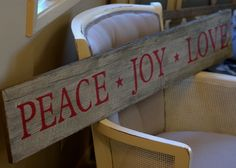 "Darling ""PEACE JOY & LOVE"" weathered barnwood sign will look fabulous on your mantle, buffet or entry table. Approximately 46"" long."