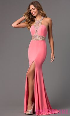 Image of Beaded Halter Prom Gown JVN Jovani 20530 Front Image