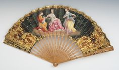 """A Victorian Painted Fan    Painted lithograph on paper, with applied gold to details, on natural wood frame with embedded mica dots, two sided and very elegant, 10-1/2""""L."""