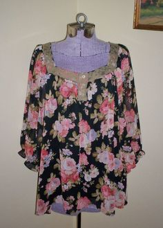 "Women's Size XL NY Collection Floral Sheer Shirt Blouse Top Tunic 52"" Bust Lined #NYCollection #Tunic #CasualCareerDressy"