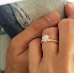Renee's stunning six-prong fishtail pave engagement ring. #bridetobe