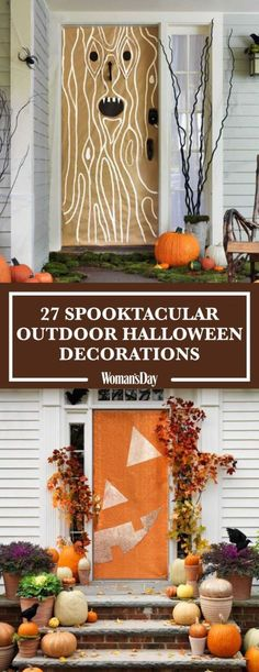 Get your porch in top-notch Halloween shape with these scary outdoor decorations. Here you'll find fun and easy DIY Halloween decorations and ideas including door decorations, lawn ideas, pumpkin decorating ideas, easy front porch ideas, and more.