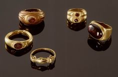 Five gold rings with garnets and/or carnelian. Found in Turkey. Roman Imperial period, ca. 200 AD.