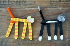 Stick Cats, Raisin Box Puzzles, and Bunny Bookmarks - Preschool and Kindergarten Community popsicle stick cats.and other craft projects.and other craft projects. Popsicle Stick Art, Popsicle Stick Crafts For Kids, Crafts For Teens To Make, Craft Stick Crafts, Preschool Crafts, Kids Crafts, Art For Kids, Diy And Crafts, Craft Projects