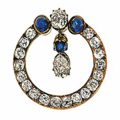 A sapphire and diamond brooch designed as an old brilliant-cut diamond circlet with a cushion-cut diamond and cabochon sapphire three-stone section suspending a cabochon sapphire and pear-shaped diamond swing centre, 2.6cm long, Russian mark Fantasy Jewelry, Jewelry Art, Antique Jewelry, Jewelery, Silver Jewelry, Vintage Jewelry, Diamond Brooch, Sapphire Diamond, Blue Sapphire
