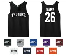 Thunder Custom Personalized Name & Number Tank Top Jersey T-shirt  - Thunder - Ideas of Thunder gift #Thundergift Lion Shirt, T Shirt, Nfl Team Colors, Forty Niners, Personalized Football, Navy And White, Hooded Sweatshirts, Tank Tops, Number