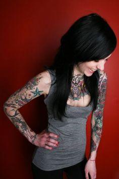 Jelena Nikolic tattoo artist - I love her american traditional sleeves. If I ever had sleeves I would want them to be in american traditional style.