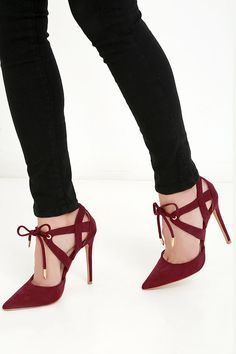 Who needs a cab when you can strut your stuff in the My Kind of Night Wine Red Suede Lace-Up Heels?! A stylish pointed-toe upper is dressed up in soft vegan suede that continues into cutout panels, and a lace-up front with gold-capped laces.