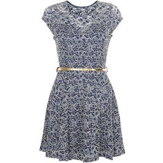 Mela Navy Floral Print Metallic Lace Skater Dress ($39) ❤ liked on Polyvore featuring dresses, navy blue cocktail dress, lace cocktail dress, skater dress, party dresses and floral dress
