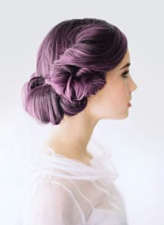 Purple hair, one of the best updo's I've ever seen. Simple updo.