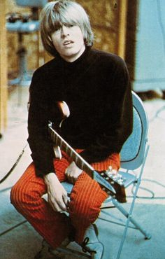 Brian Jones holding a Rickenbacker during a Stones recording session, RCA Studios, Los Angeles, 1965.