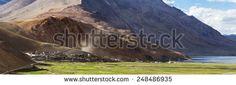 Panorama of the Korzok monastery and village with mountains and Tsomoriri lake (Ladakh, India)